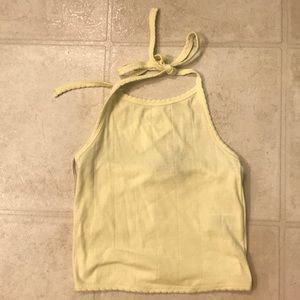Yellow halter crop top.